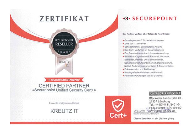 Certified Partner Securepoint Unified Security Cert+ (07/2020)