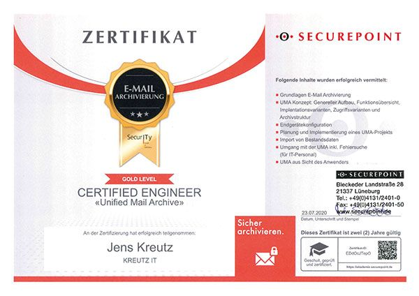 Certified Engineer Unified Mail Archive (07/2020)